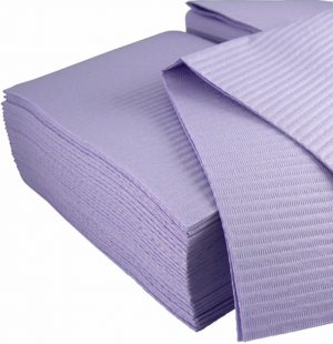 Dexell Bibs Lavender 13″ x 18″ 2-Ply Paper 1-Ply Poly