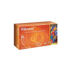 Aurelia VIBRANT Latex Powder-Free Gloves - Micro Textured - Chlorinated Low Protein - Natural